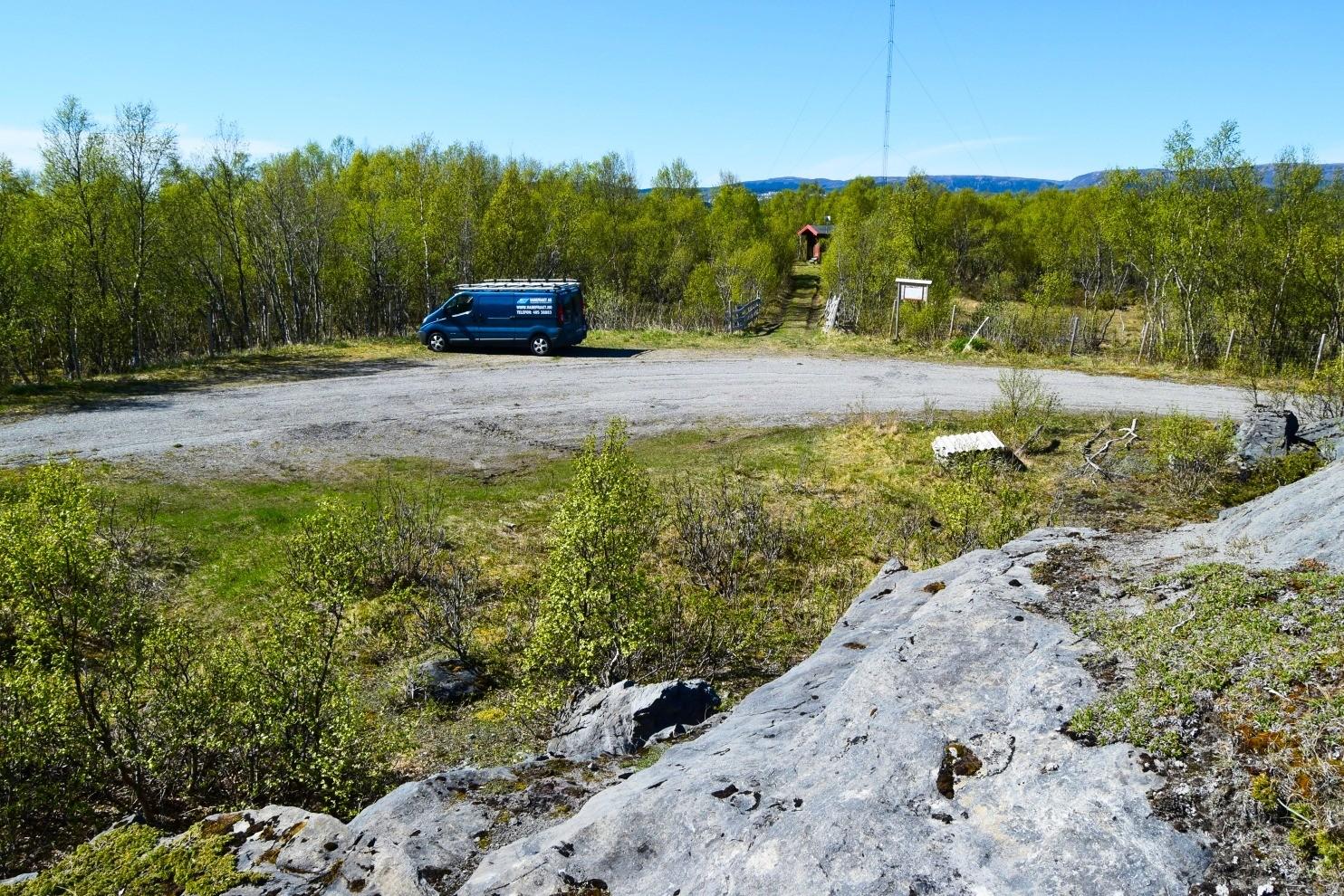 Parkeringsplassen ved Tverlandet Naturreservat