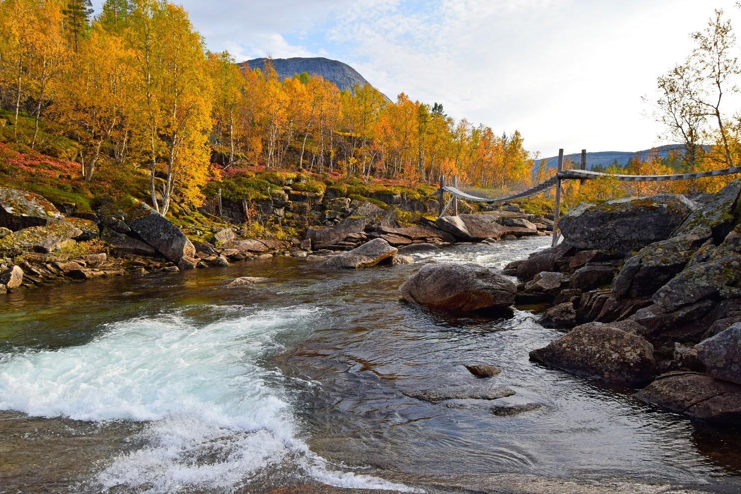 Hengebru over Gjerdalselva i Sørfold