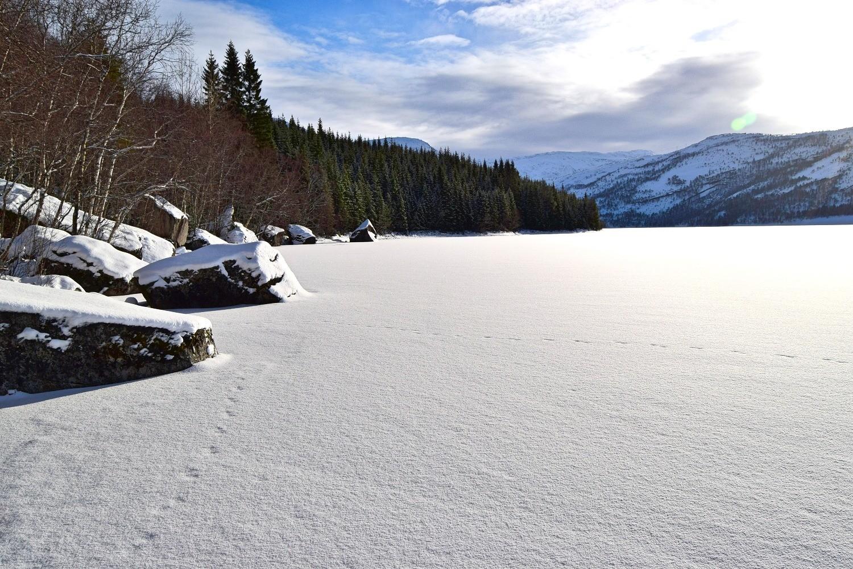 Vinter på Straumvatnet i Sørfold