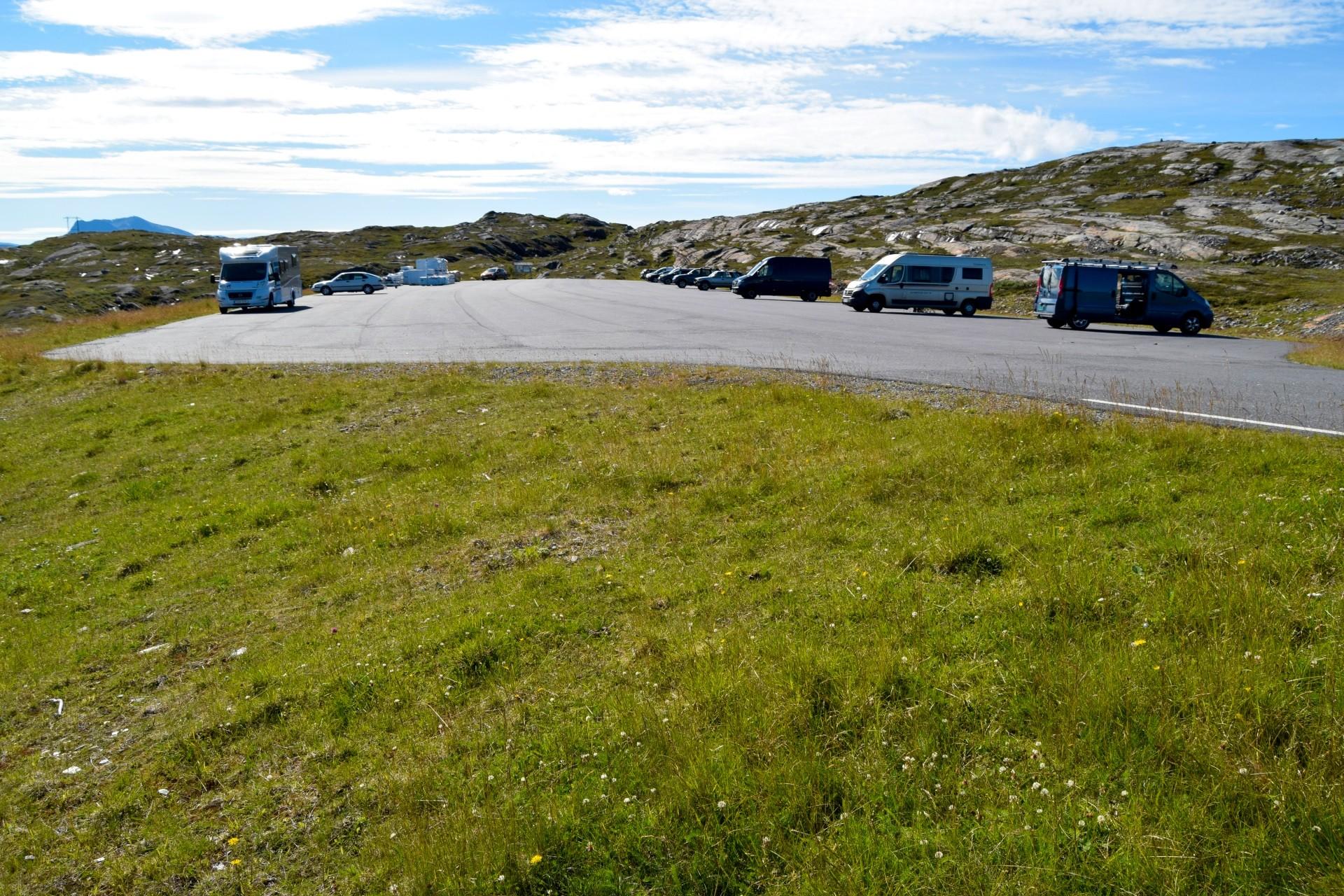Parkeringsplassen ved Grønnlihågen på Beiarfjellet