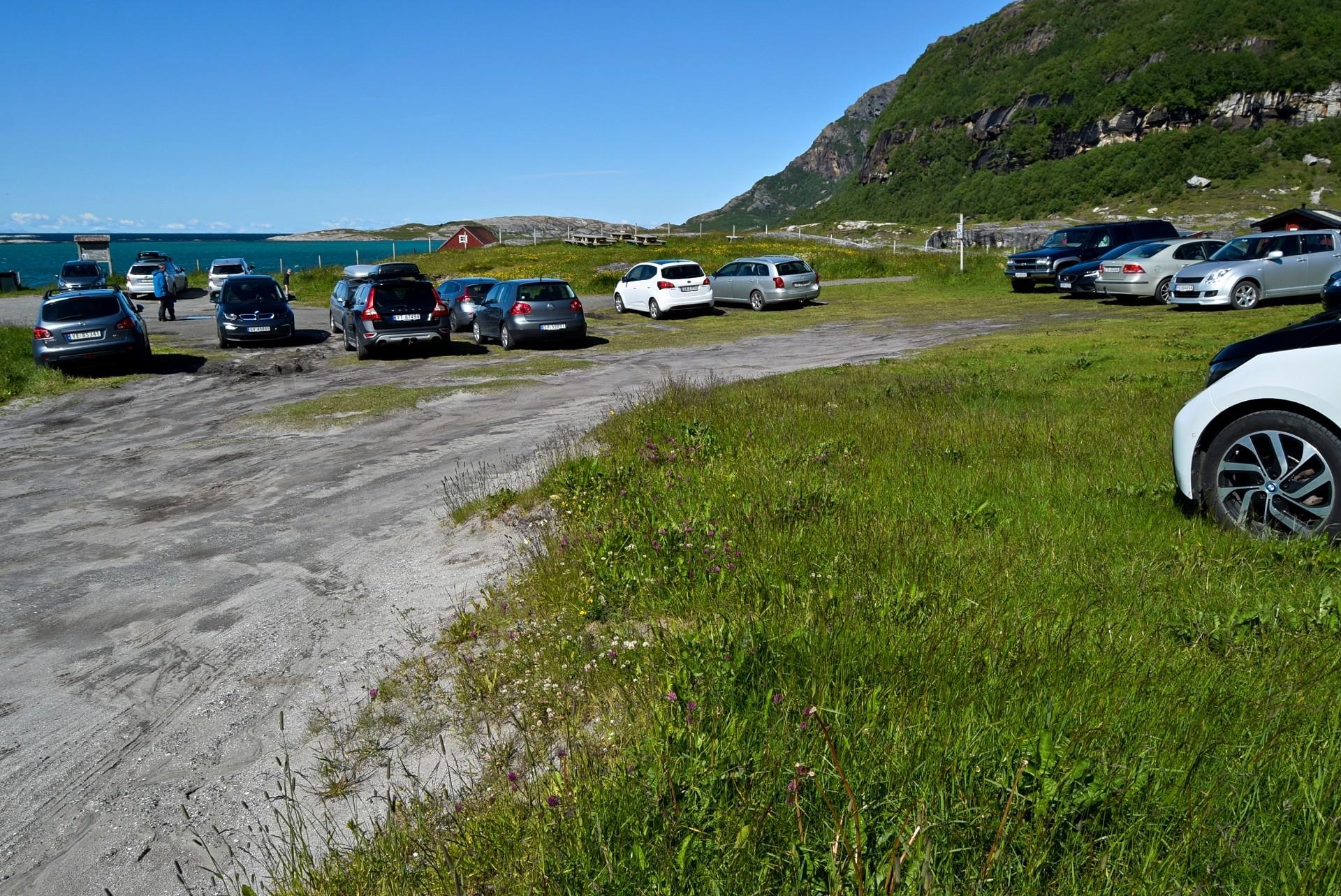 Parkeringsplassen ved Mjelle i Bodø